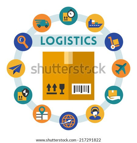 Logistics related vector infographic, flat style - stock vector