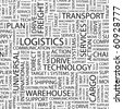LOGISTICS. Seamless vector pattern with word cloud. Illustration with different association terms. - stock photo