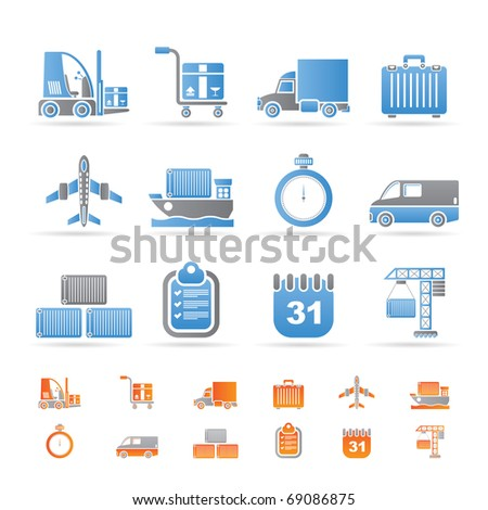 logistics, shipping and transportation icons - vector icon set - stock vector