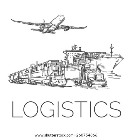 Logistics sign with plane, truck, container ship and train vector illustration - stock vector