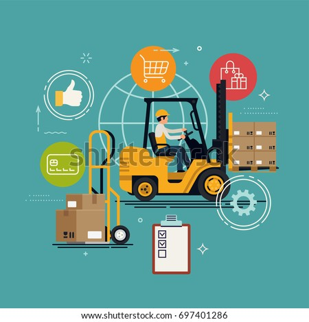 Logistics, storage and delivery service vector concept illustration with forklift loaded with cardboard boxes palette, delivery cart with boxes, clipboard, abstract worker, etc.