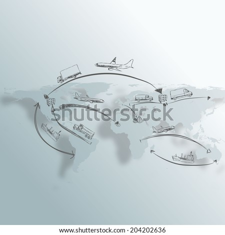Logistics technology concept Hand draw Sketch  - stock vector