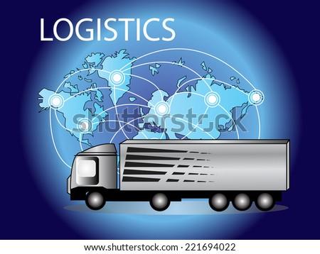 Logistics technology concept,logistics connection on world map vector,transportation - stock vector