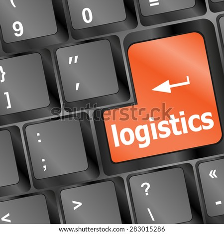 logistics words on laptop keyboard, business concept, vector