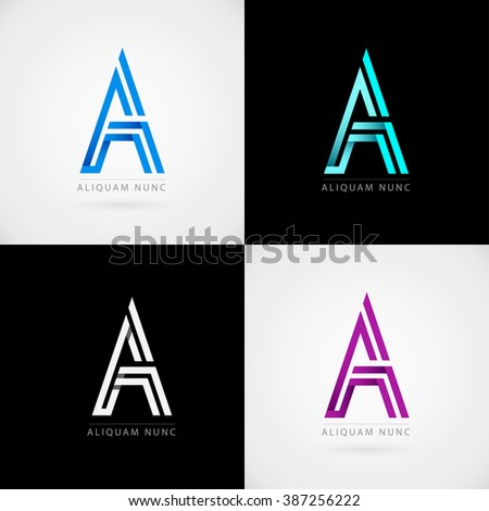 Logo A letter set. Vector icons - stock vector