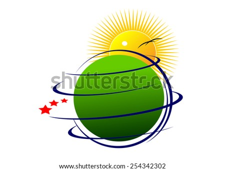 logo. abstract globe, stars and sun - stock vector