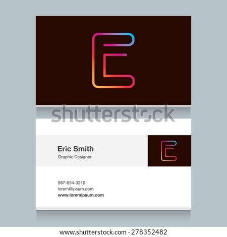 """Logo alphabet letter """"E"""", with business card template. Vector graphic design elements for your company logo. - stock vector"""