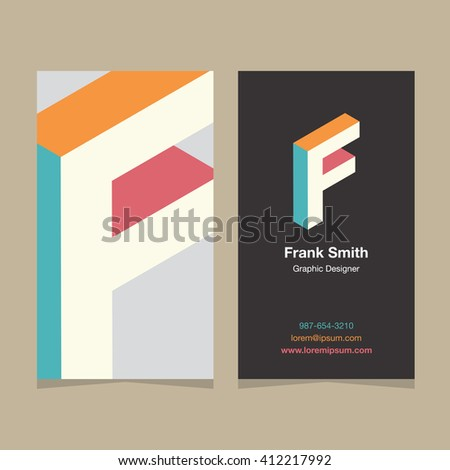 "Logo alphabet letter ""F"", with business card template. Vector graphic design elements for company logo. - stock vector"