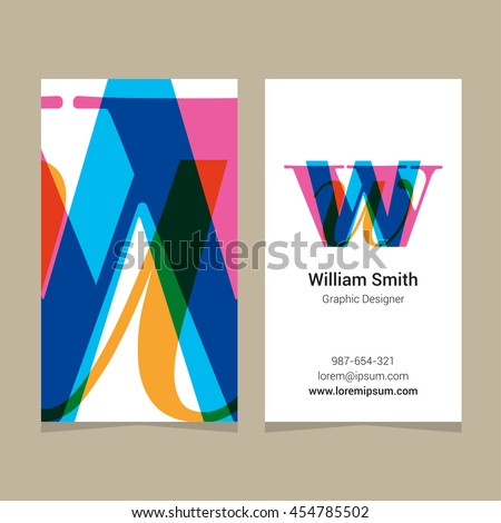 "Logo alphabet letter ""w"", with business card template. Vector graphic design elements for company logo. - stock vector"