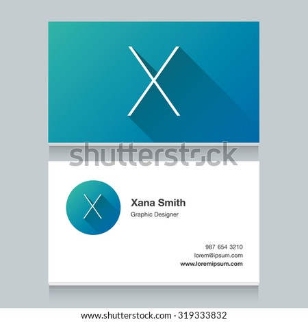 """Logo alphabet letter """"X"""", with business card template. Vector graphic design elements for your company logo. - stock vector"""