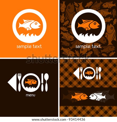logo and background for fish company - stock vector