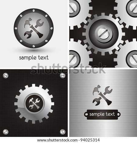 logo and background for mechanical company - stock vector
