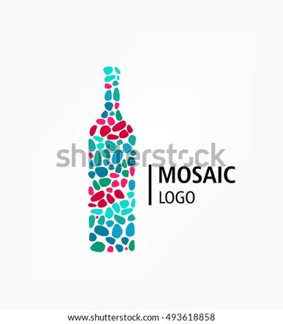 Logo Bottle Mosaic. Wine Cafe A Restaurant. Winemaker Firm Style
