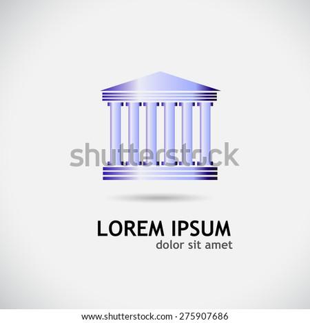 Logo building with columns. Vector - stock vector