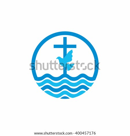 Logo church. Christian symbols. Cross and dove, waves. Jesus - the source of living water. - stock vector