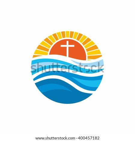 Logo church. Christian symbols. Waves, cross, sun, streams of water alive. - stock vector