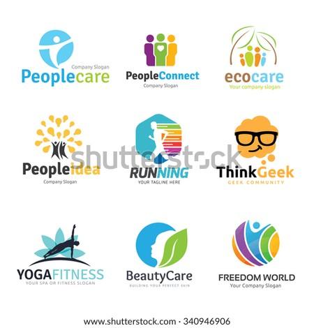 Logo collection,logo set,people logo,idea logo,kids logo,geek logo,spa logo,yoga logo,human and healthy logo,beauty logo,eco logo,care,yoga logo,school logo,brain, inspiration,education  logo template - stock vector