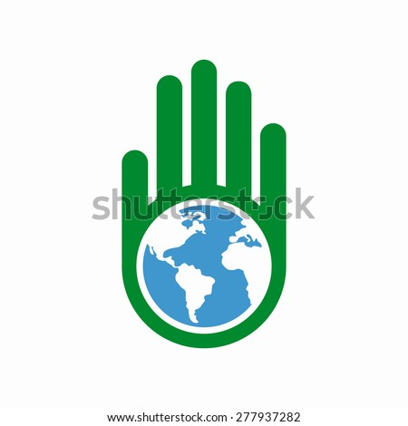 Logo combination of a hand and earth - stock vector
