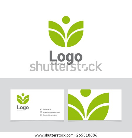 Logo design element with two business cards. Logo leaf, spa symbol. - stock vector