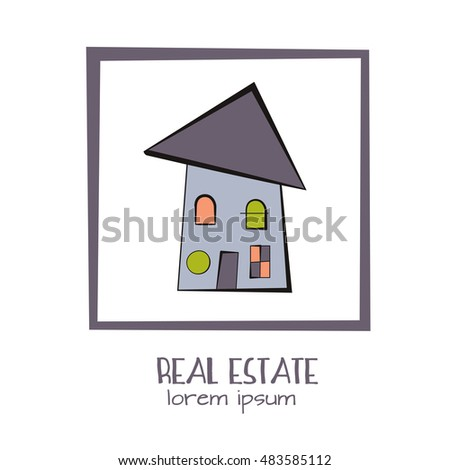 Quirky Cartoon Tiny House And Square Frame Kids Style