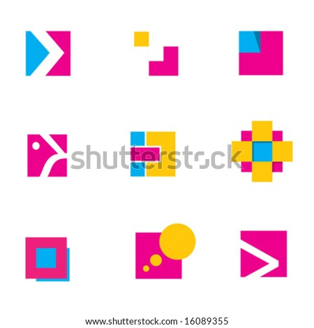 logo design geometric constructions 2 - stock vector