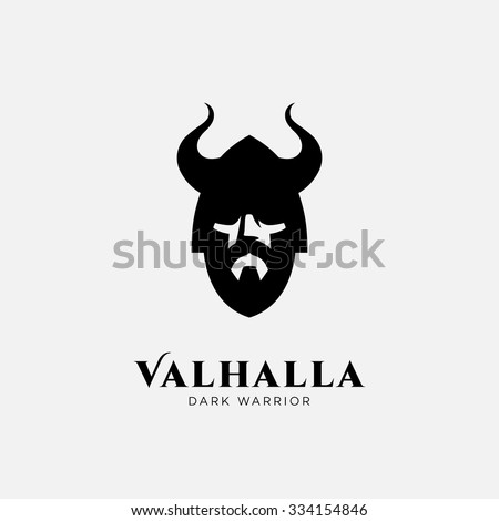 Logo design template with head of warrior in helmet. For team identity, sport club logo, mascot, game icon, security agency logo, etc. Vector illustration. - stock vector
