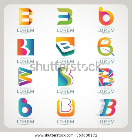 Logo element B and Abstract web Icon and globe vector symbol. Unusual sign icon and sticker set. Graphic design easy editable for Your design. Modern logotype icon. - stock vector