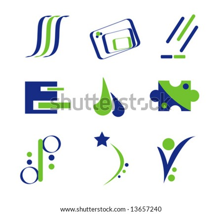 Logo Elements in Green and Blue