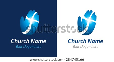 Logo for a church or Christian organization in the form of a palm with a cross. Cross on the hand church logo - stock vector