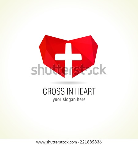 Logo for a medical company or Christian organization cross on a background of red hearts. Cross in heart logo - stock vector