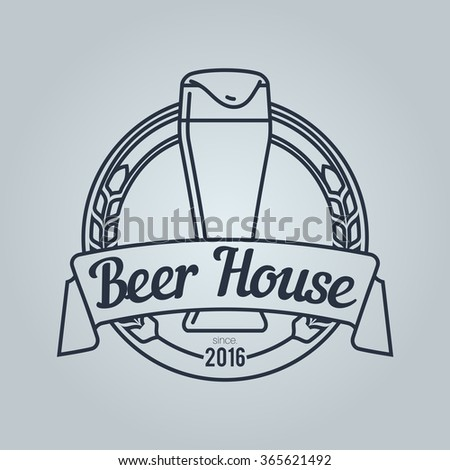 Logo for Beer House with light pilsner glass.  Icon is ready for print in any size. Made as gliphicon for web using