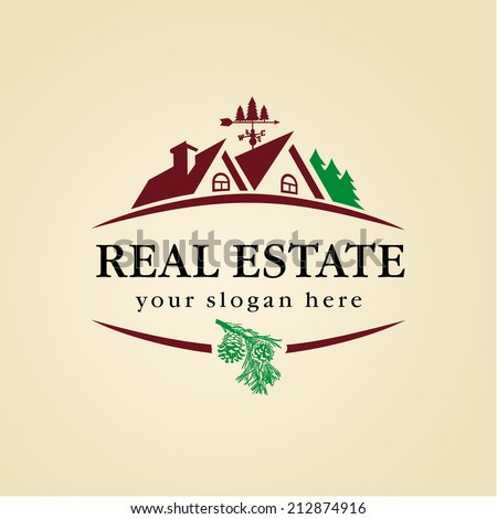 Logo for cottage town or suburban real estate agency. Real estate logo wood. - stock vector