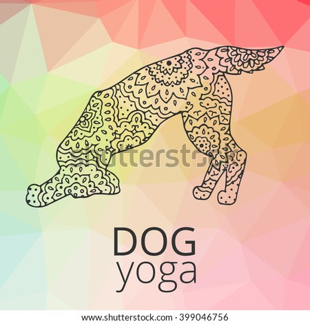 Logo for dog yoga. Yoga dogs. Logo for dog yoga studio.Yoga logo. Doga yoga. Yoga for dogs. Vector yoga illustration. Yoga sticker. Logo for yoga with dog. Yoga dogs. Triangle dog.  Tracery logo - stock vector