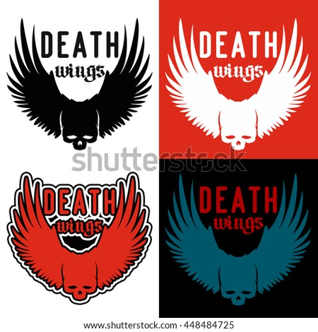 Logo For Hardcore Metalcore Band Skull Image On Background Wings In Four Variations