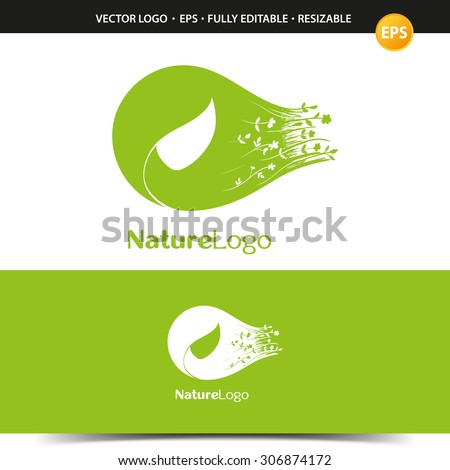 Logo for natural cosmetics, spa treatments, environmental protection and more - stock vector