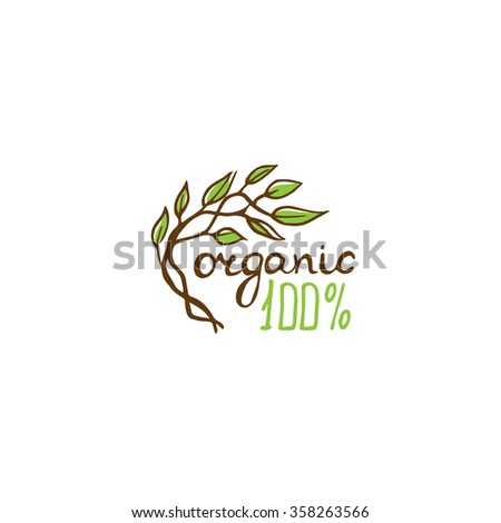 Logo for 100%  organic products.Colours: brown, green. - stock vector