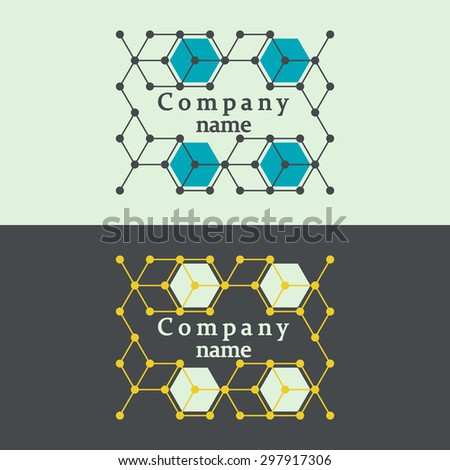 Logo for promotion  products of modern science. Abstract concept. Sample DNA molecule, social network, biomedicine.  - stock vector