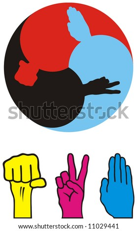"logo for ""stone scissors paper"" game - stock vector"