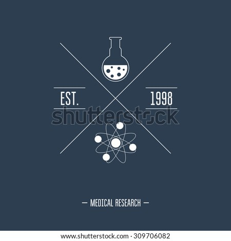 Logo for the chemical, medical, research laboratories, businesses, industries and products. Isolated image. White color. Vector illustration