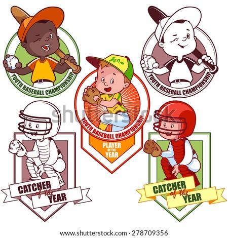 Logo for the junior baseball tournament. Vector illustration on white background. - stock vector