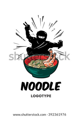 Logo for the Noodle Shop. Ninja eat with chopsticks from a plate. - stock vector