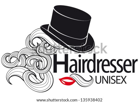 Logo for unisex hairdressing shop. Top Hat. Bunches of curls. Lips. Half mustache. To sign or business card.  - stock vector