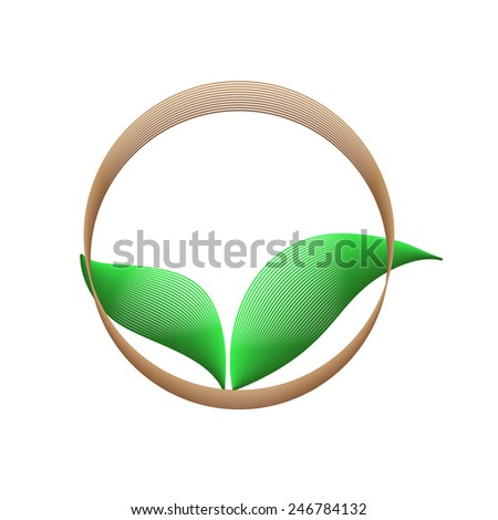 Logo green leaf - stock vector
