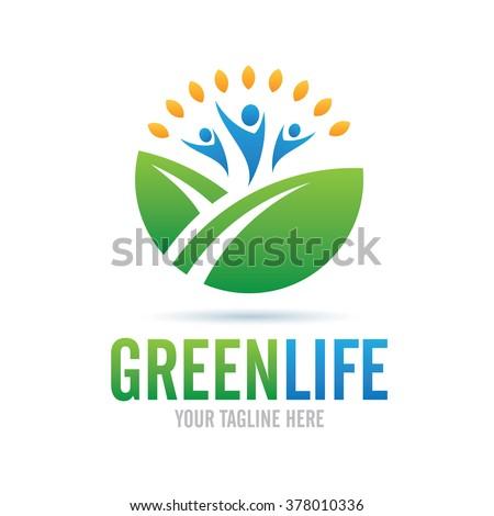Logo Green Life Icon Element Template Design Logos - stock vector
