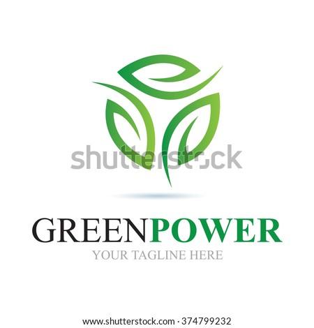 Logo Green Power Icon Element Template Design - stock vector