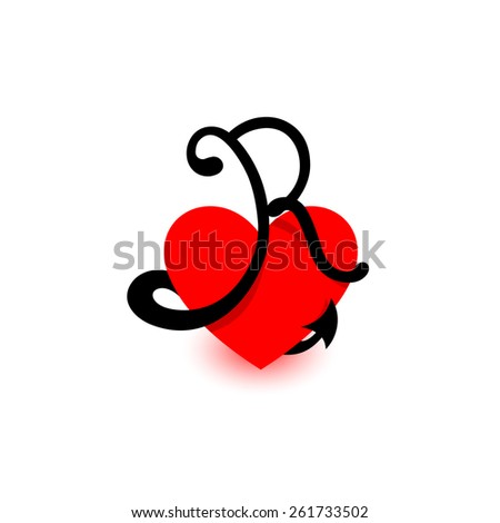 Logo Heart Letter RBeautiful Vector Love The Symbol Of Union