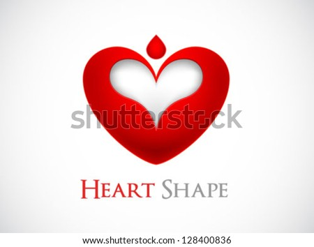 logo heart shape design - stock vector