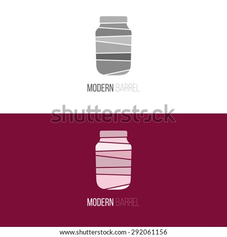 Logo inspiration for shops, companies, advertising or other business. Vector Illustration, graphic elements editable for design with barrel, pot or jar. - stock vector