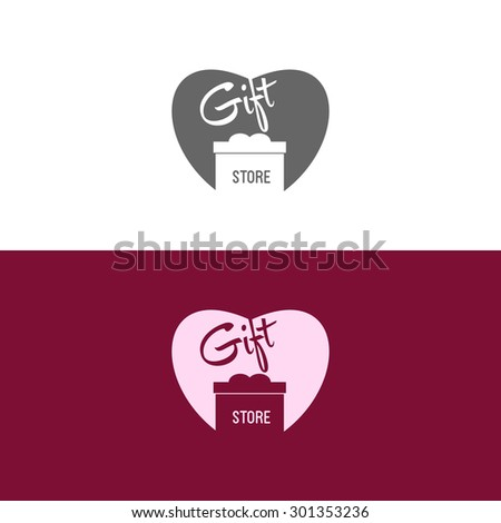 Logo inspiration for shops, companies, advertising or other business. Vector Illustration, graphic elements editable for design with gift, present or box. - stock vector