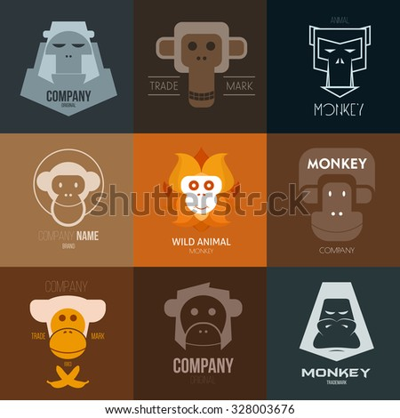 Logo inspiration for shops, companies, advertising or other business with monkey. Vector Illustration, graphic elements editable for design. - stock vector